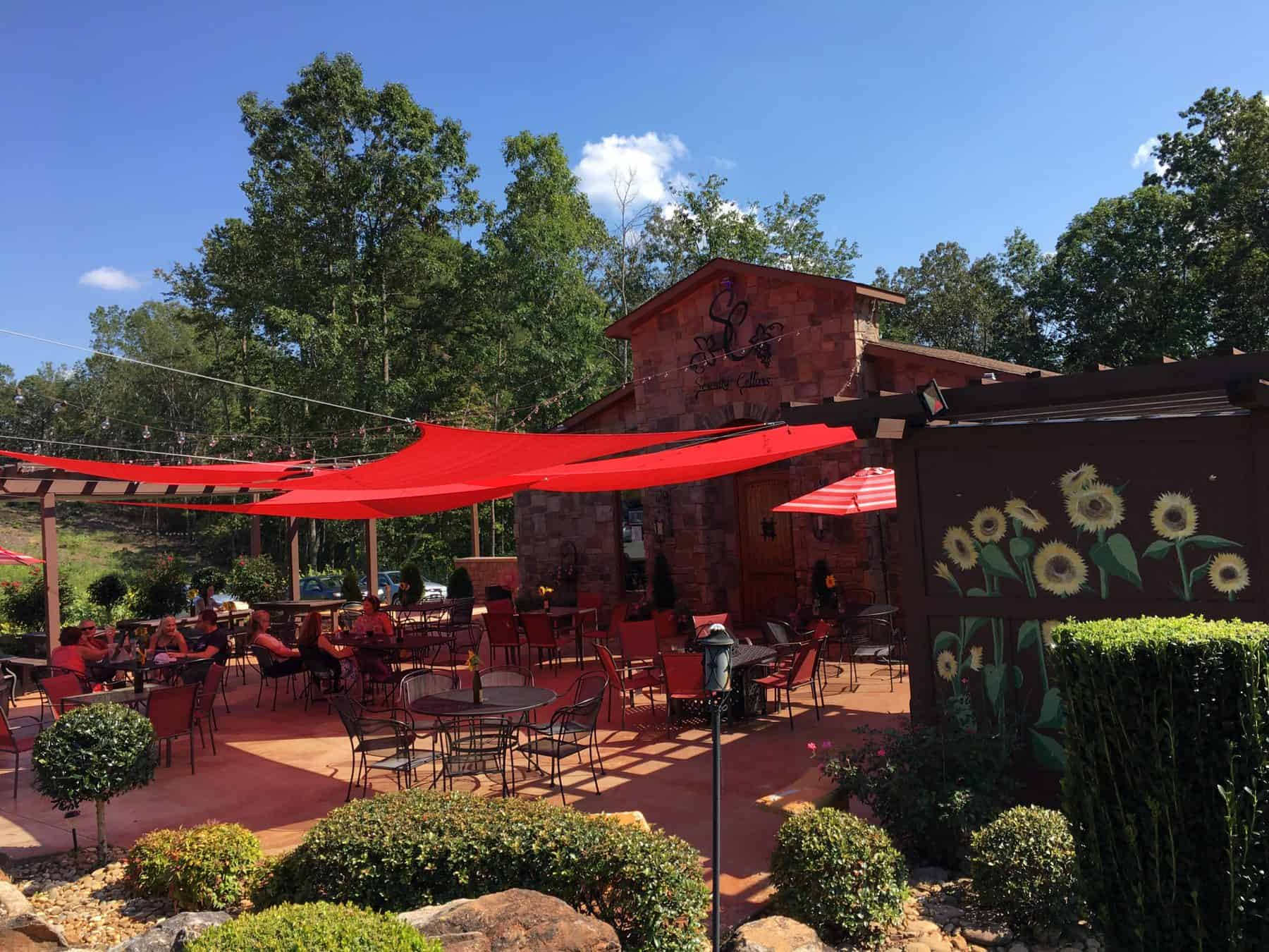 Outdoor seating at Serenity Cellars