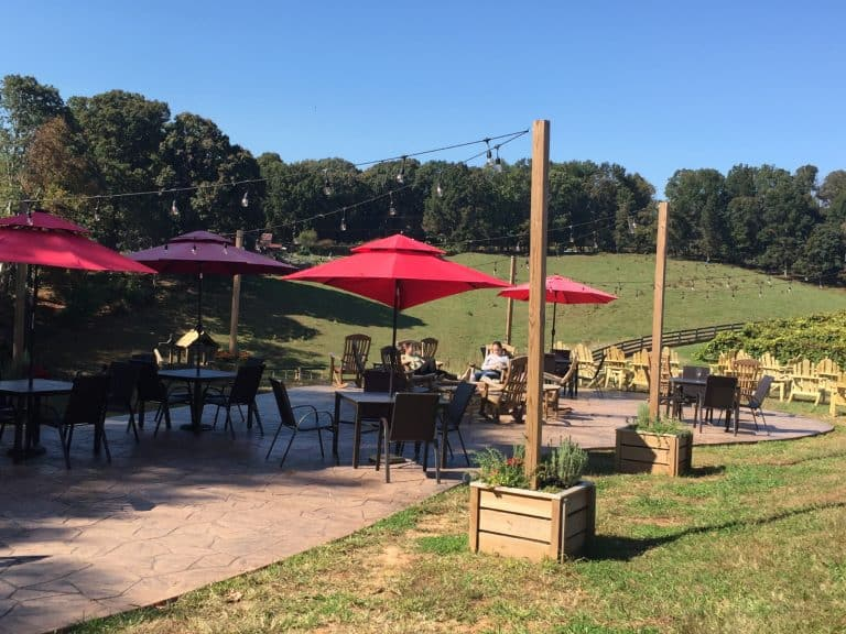 outdoor seating, Cavender Creek Vineyards, Dahlonega