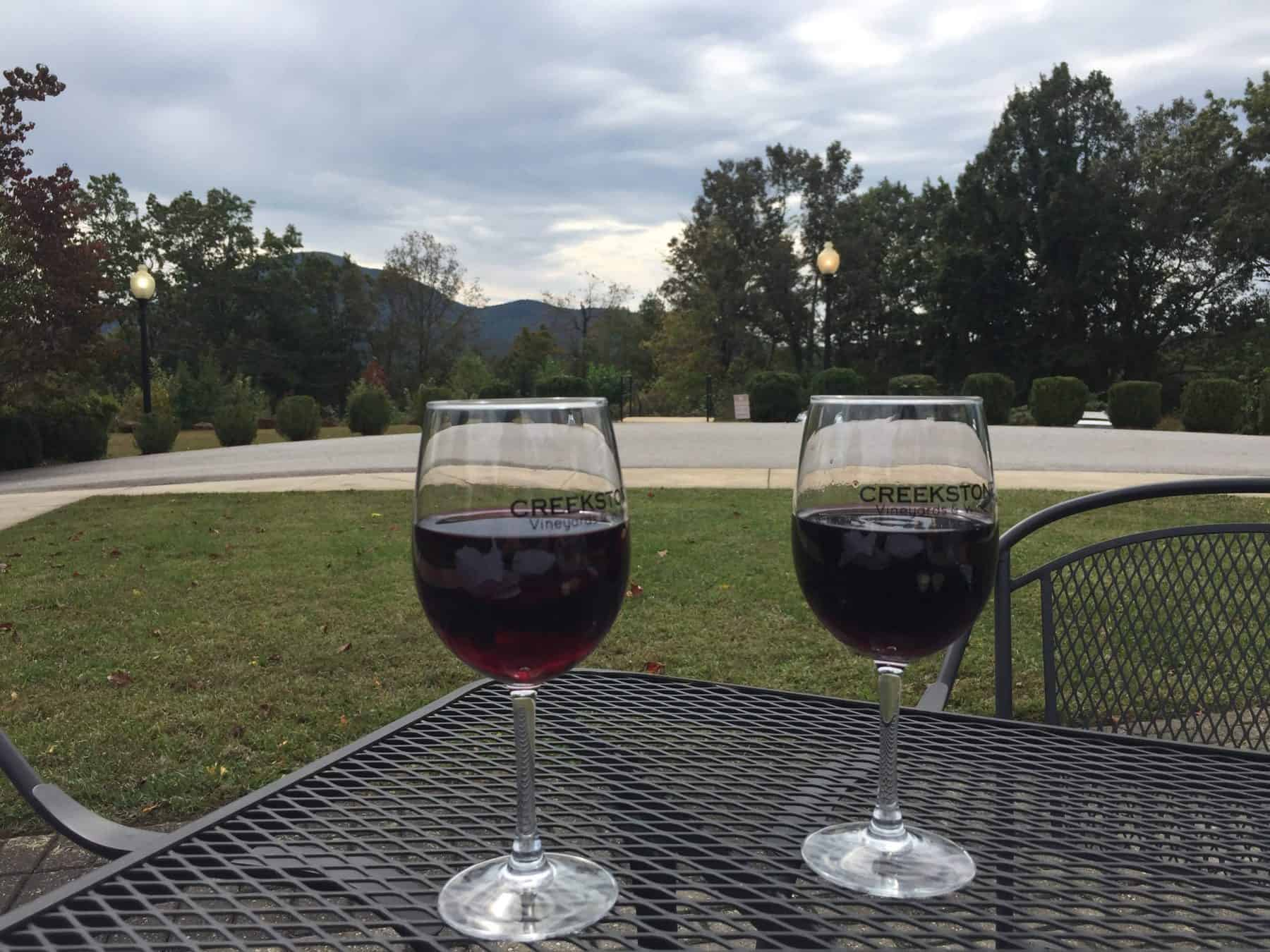 Enjoying Wine Outside Creekstone Winery