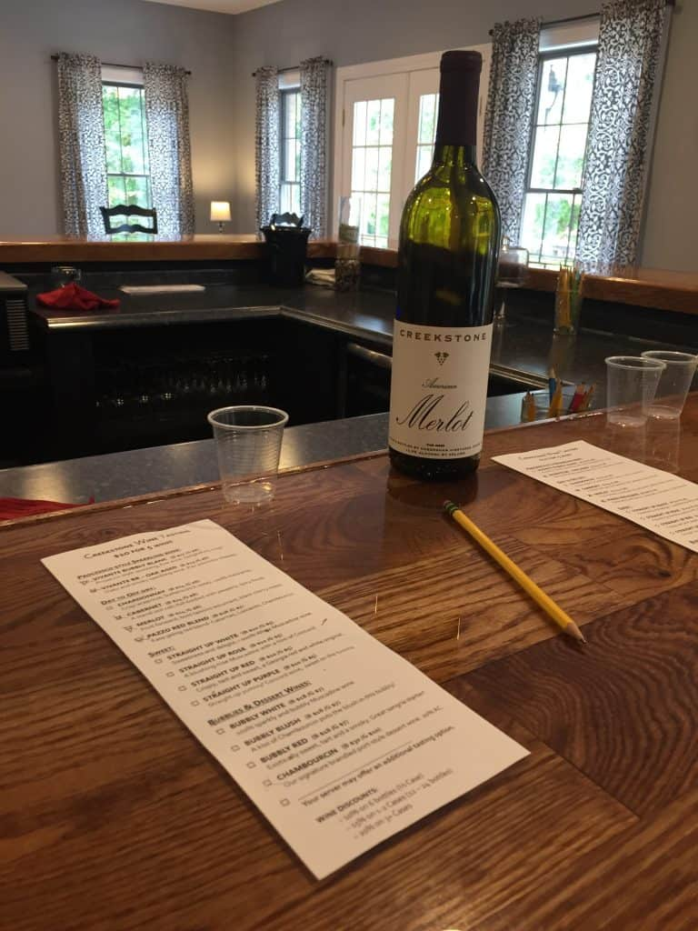 Creekstone Winery Tasting Menu